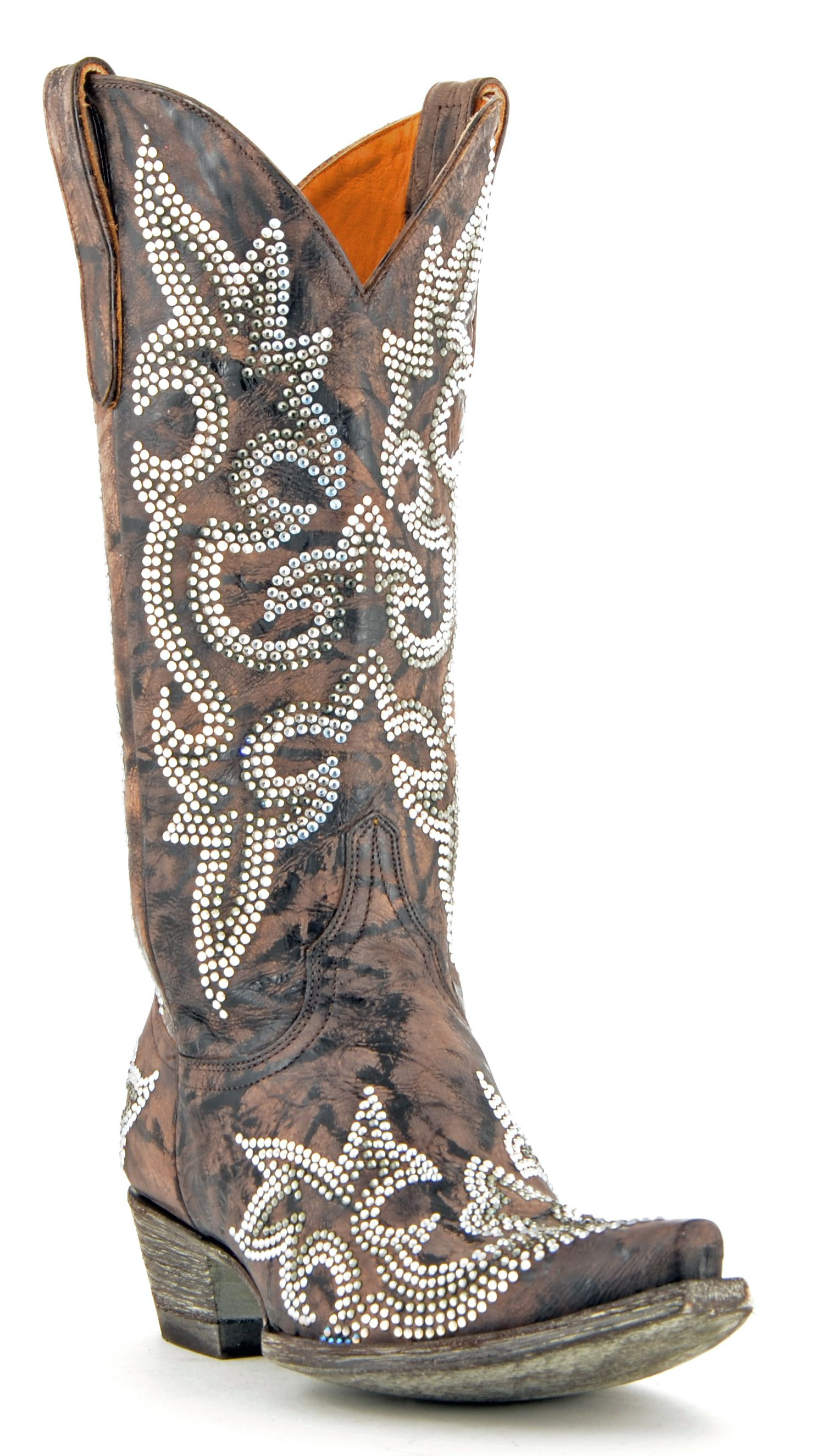Womens old gringo diego crystal boots chocolate style l1202