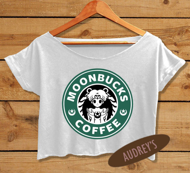 top, starbucks coffee, sailor moon, funny t-shirt, women ...