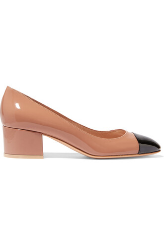 pumps leather beige shoes