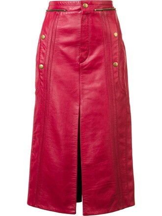 skirt women leather red