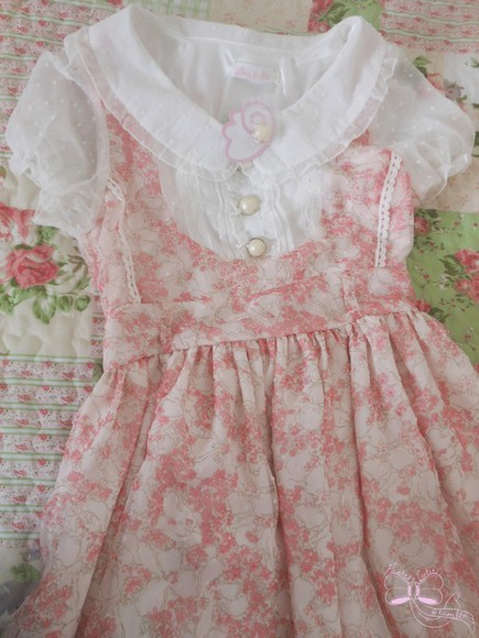 bows white pink lace dress flowers