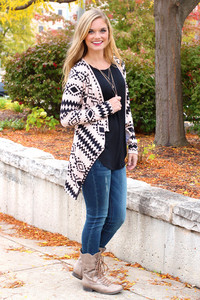 aztec tribal pattern cardigan knitwear caridgan taupe blackt ribal