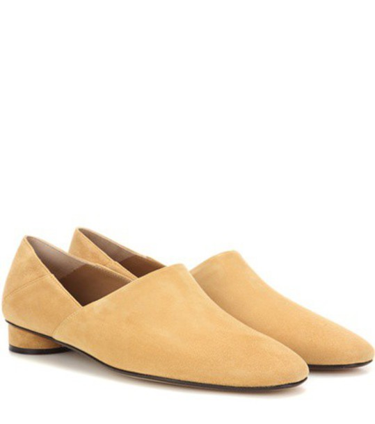The Row Noelle Suede Slippers in beige / beige