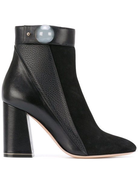 women ankle boots leather suede black shoes