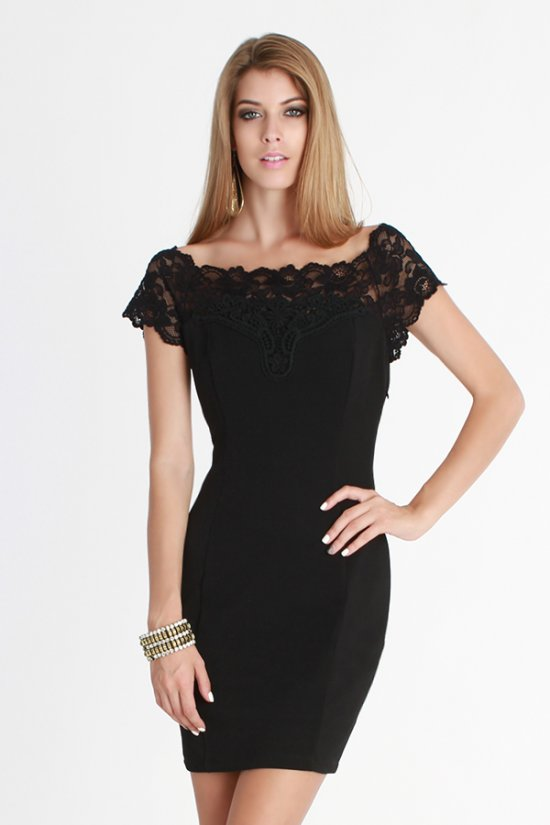 Off shoulder lace yoke dress