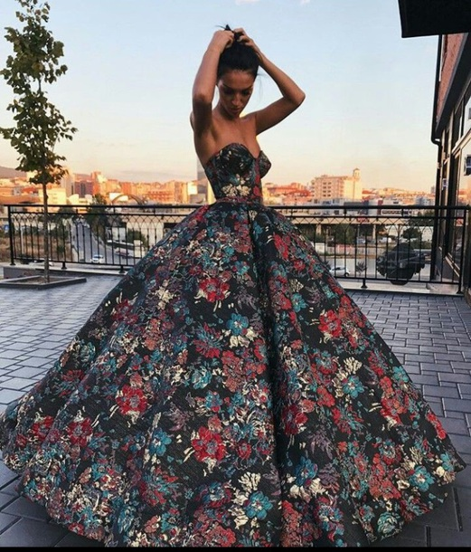 dress floral gown prom dress