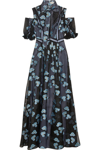 gown bow cold blue dress