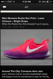 shoes,nike women roshe run print,laser crimson,bright grape