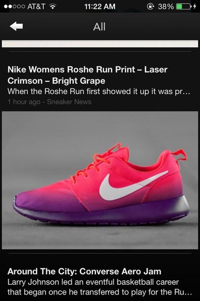 shoes nike women roshe run print laser crimson bright grape