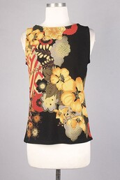 top,black,floral,oriental print,yellow,red,sleeveless,tank top