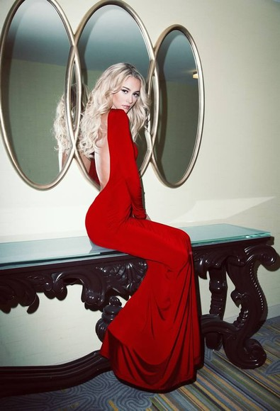red dress long dress prom dress evening dress party dress backless long sleeves charming dress