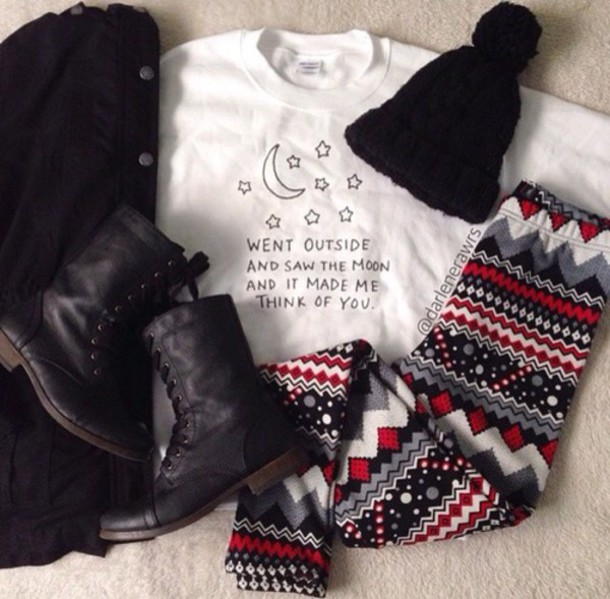 cardigan hat pants shoes sweater shirt white t-shirt moon