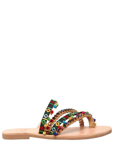MABU BY MARIA BK 10mm Naida Embellished Sandals in green / multi