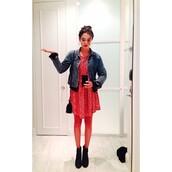 dress,zoey deutch,polka dot dress,polka dots,red polka dots,red dress,skater dress
