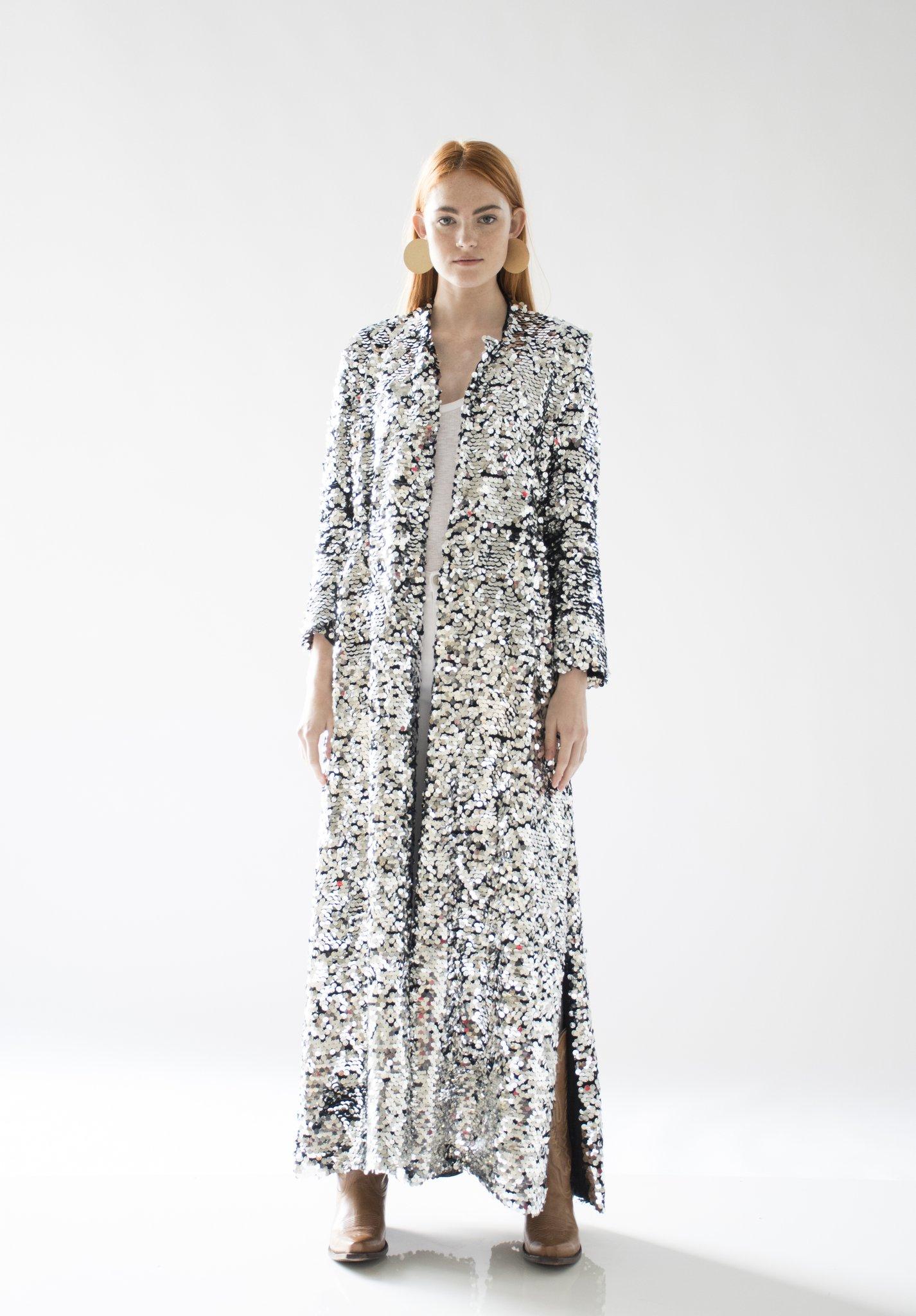Morgan Sequin Coat Silver