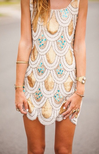 dress gold scalloped teal dress gold scalloped twenties