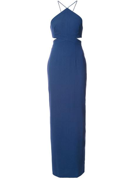 Aidan Mattox dress women spandex fit blue