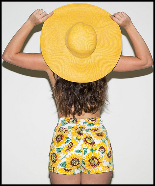 Free Shipping! Sunflower Print High Waist Denim Shorts /Hot Pant Size 23 29-in Shorts from Apparel & Accessories on Aliexpress.com