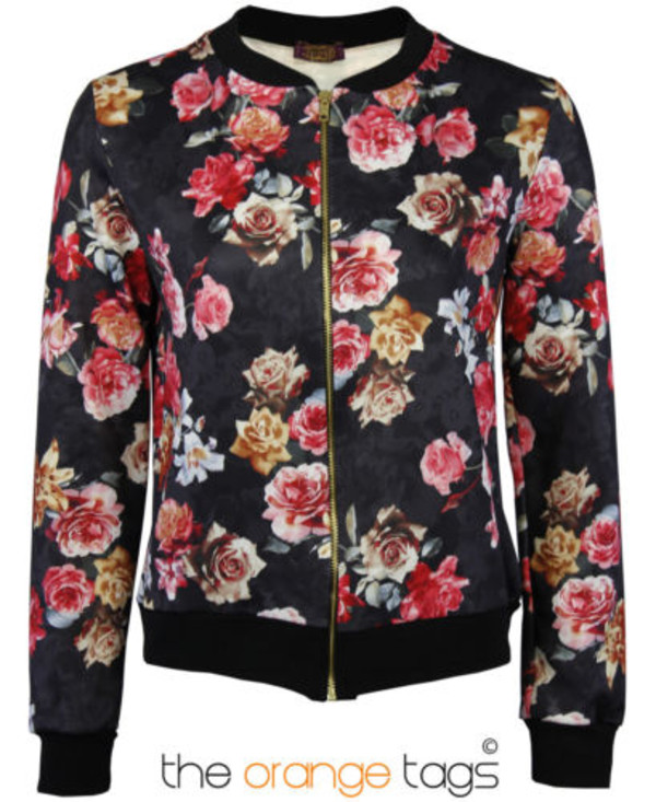 jacket vintage fall outfits floral floral coat ladies bomber jacket retro biker jacket crop hipster black roses cute lovely old school