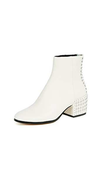 heel ankle boots white shoes