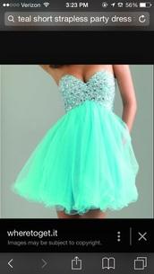 dress,teal dress,jems,style,strapless dress,gloves