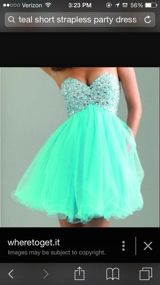 dress teal dress jems style strapless dress gloves