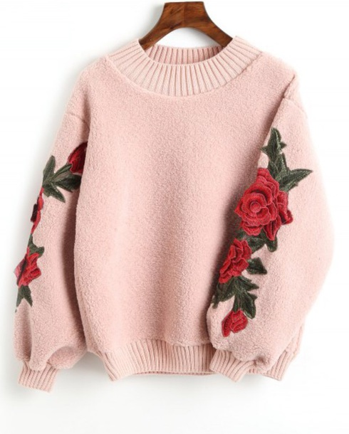 sweater embroidered girly sweatshirt jumper pink fur