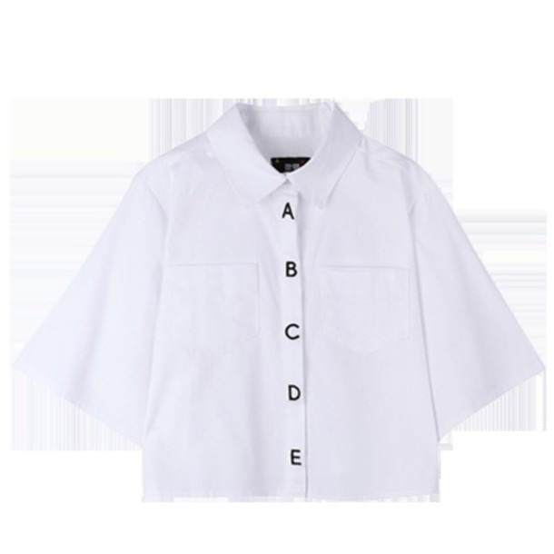 shirt abc letters button up shirt button up blouse korean fashion
