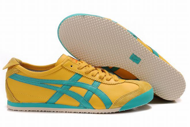 men s yellow and sky blue tiger asics mexico 66 running shoes