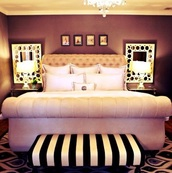 pajamas,home decor,bed frame,mirror,bench,black and white