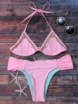swimwear fashion pink summer beach bikini girly shell zaful