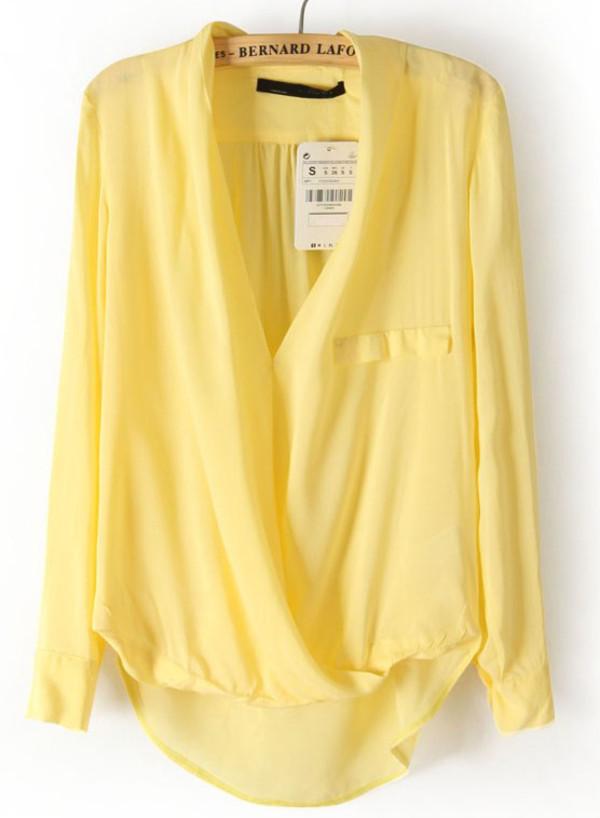 blouse yellow top semi transparent summer longarmed
