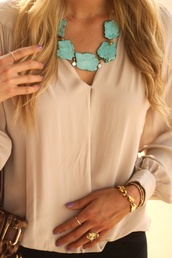 jewels,turquoise jewelry,statement necklace,blouse