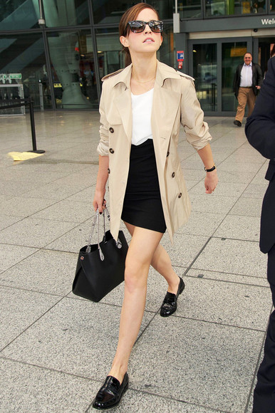 emma watson coat trench coat loafers