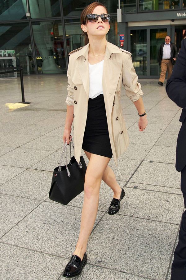 coat emma watson trench coat loafers