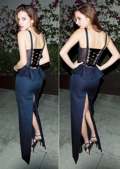 barbara palvin dress blue dress long dress sexy blue corset