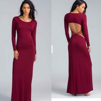 dress burgundy dress long sleeve dress backless dress