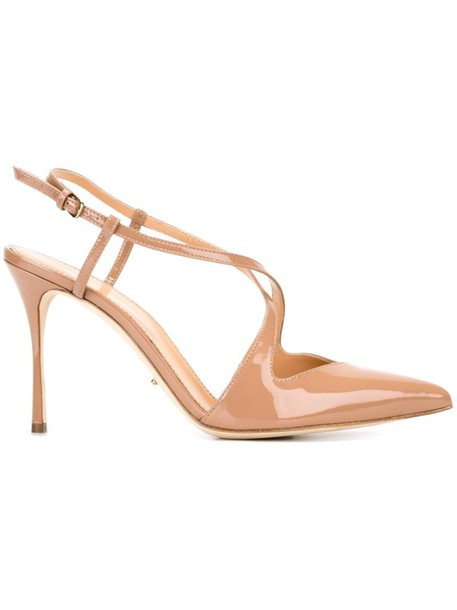 Sergio Rossi pointed toe pumps strappy pumps nude shoes