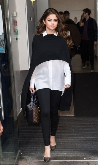 coat cape pants shirt spring outfits selena gomez