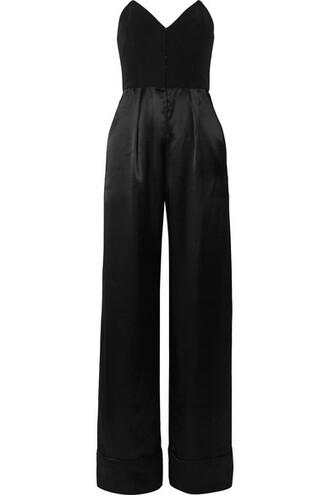jumpsuit strapless black silk satin