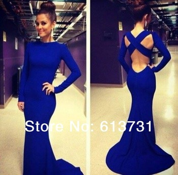 Aliexpress.com : buy free shipping 2014 mermaid satin prom gowns floor length short sleeves backless bateau crystal evening dresses te92057 from reliable gowns china suppliers on suzhou babyonline dress store