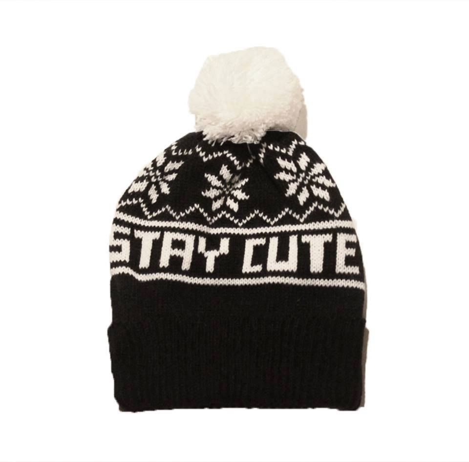 Stay cute beanie, black knit, one size