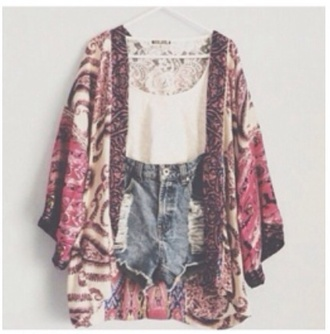 cardigan print pink peach kimono cute girly summer outfits