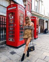 skirt,wrap ruffle skirt,mini skirt,belt,ankle boots,suede boots,shoulder bag,off the shoulder top,leopard print