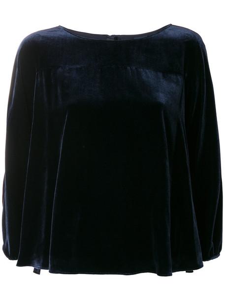 ASPESI blouse women blue silk velvet top