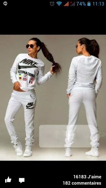 ff548ae1080a8 pants sweater leggings jumpsuit hot international white sneakers blouse  white pants tracksuit joggers hoodie white nike