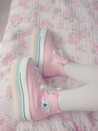 shoes kawaii japan girl pastel goth japanese pastel sneakers fairy kei harajuku lolita converse platform shoes platform sneakers pastel soft grunge rainbow