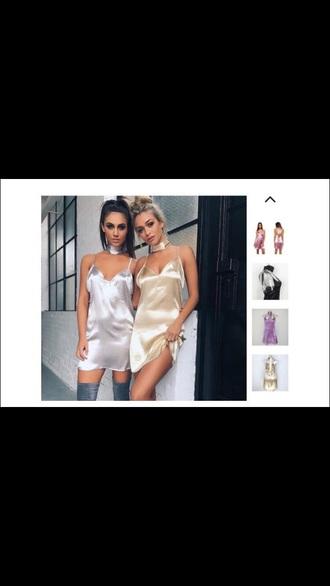 dress silver silk dress silk gold spaghetti strap sexy v-neck dress