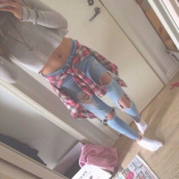 sweater crop tops long sleeves flannel shirt white jeans