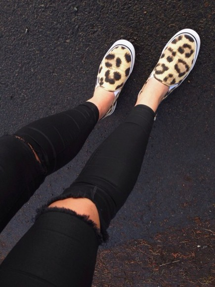 leopard print pants shoes vans cheetah print black ripped jeans jeans denim destroyed skinny jeans